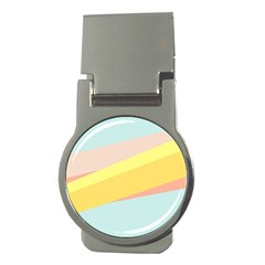 Pink Green Yellow Line Flag Money Clips (round)  by AnjaniArt
