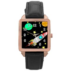 Planet Saturn Rocket Star Rose Gold Leather Watch  by AnjaniArt
