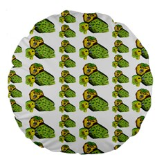 Parrot Bird Green Animals Large 18  Premium Flano Round Cushions by AnjaniArt