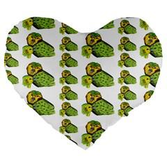 Parrot Bird Green Animals Large 19  Premium Flano Heart Shape Cushions by AnjaniArt