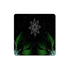 Night Sky Flower Square Magnet by AnjaniArt