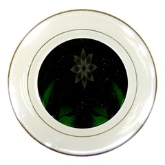 Night Sky Flower Porcelain Plates by AnjaniArt