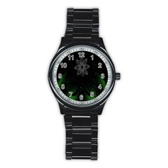 Night Sky Flower Stainless Steel Round Watch by AnjaniArt