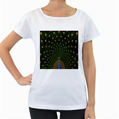 Peacock Feathers Green Women s Loose Fit T Shirt (white) by AnjaniArt