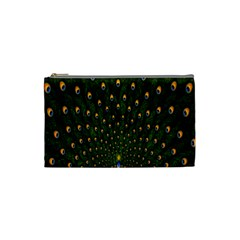 Peacock Feathers Green Cosmetic Bag (small)  by AnjaniArt
