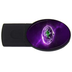 Purple Space Planet Earth USB Flash Drive Oval (4 GB) by AnjaniArt
