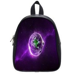 Purple Space Planet Earth School Bags (small)  by AnjaniArt