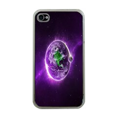 Purple Space Planet Earth Apple Iphone 4 Case (clear) by AnjaniArt