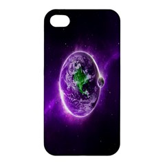 Purple Space Planet Earth Apple Iphone 4/4s Hardshell Case by AnjaniArt