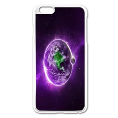 Purple Space Planet Earth Apple Iphone 6 Plus/6s Plus Enamel White Case by AnjaniArt