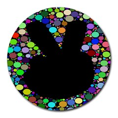 Prismatic Negative Space Comic Peace Hand Circles Round Mousepads by AnjaniArt