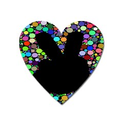 Prismatic Negative Space Comic Peace Hand Circles Heart Magnet by AnjaniArt