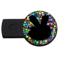Prismatic Negative Space Comic Peace Hand Circles Usb Flash Drive Round (4 Gb) by AnjaniArt