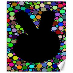 Prismatic Negative Space Comic Peace Hand Circles Canvas 8  X 10  by AnjaniArt