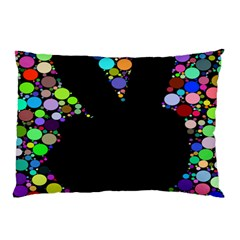 Prismatic Negative Space Comic Peace Hand Circles Pillow Case by AnjaniArt