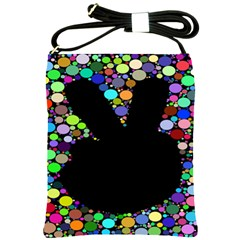 Prismatic Negative Space Comic Peace Hand Circles Shoulder Sling Bags by AnjaniArt