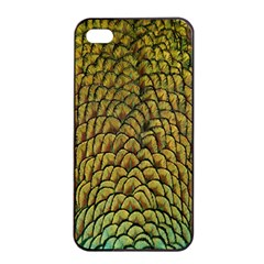 Peacock Bird Feather Color Apple Iphone 4/4s Seamless Case (black) by AnjaniArt