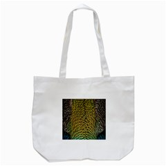 Peacock Bird Feather Color Tote Bag (white) by AnjaniArt