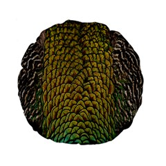 Peacock Bird Feather Color Standard 15  Premium Flano Round Cushions by AnjaniArt