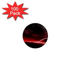 Outer Space Red Stars Star 1  Mini Magnets (100 Pack)  by Onesevenart