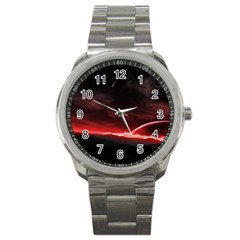 Outer Space Red Stars Star Sport Metal Watch by Onesevenart