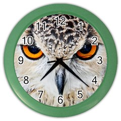 Owl Face Color Wall Clocks by Onesevenart