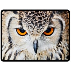 Owl Face Fleece Blanket (large)  by Onesevenart