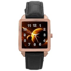 Planets Space Rose Gold Leather Watch  by Onesevenart