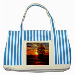 Pirate Ship Striped Blue Tote Bag by Onesevenart