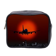 Red Sun Jet Flying Over The City Art Mini Toiletries Bag 2 Side by Onesevenart