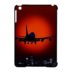 Red Sun Jet Flying Over The City Art Apple Ipad Mini Hardshell Case (compatible With Smart Cover) by Onesevenart