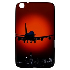 Red Sun Jet Flying Over The City Art Samsung Galaxy Tab 3 (8 ) T3100 Hardshell Case  by Onesevenart