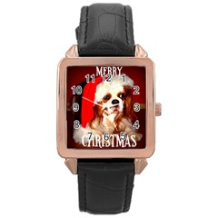 Merry Christmas Santa Cav Rose Gold Leather Watch  by TailWags