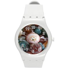 Rain Flower Stones Is A Special Type Of Stone Round Plastic Sport Watch (m) by Onesevenart