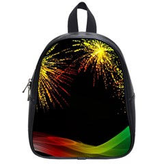 Rainbow Fireworks Celebration Colorful Abstract School Bags (small)  by Onesevenart