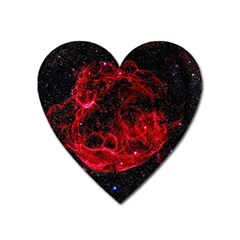Red Nebulae Stella Heart Magnet by Onesevenart