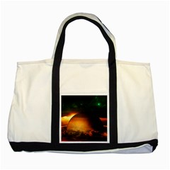 Saturn Rings Fantasy Art Digital Two Tone Tote Bag by Onesevenart
