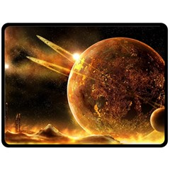 Sci Fi Planet Double Sided Fleece Blanket (large)  by Onesevenart