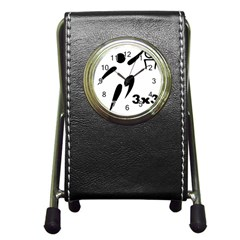 3 On 3 Basketball Pictogram Pen Holder Desk Clocks by abbeyz71
