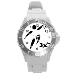 3 On 3 Basketball Pictogram Round Plastic Sport Watch (l) by abbeyz71