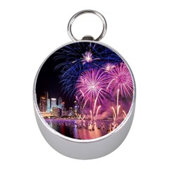Singapore New Years Eve Holiday Fireworks City At Night Mini Silver Compasses by Onesevenart