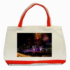 Singapore The Happy New Year Hotel Celebration Laser Light Fireworks Marina Bay Classic Tote Bag (Red) by Onesevenart