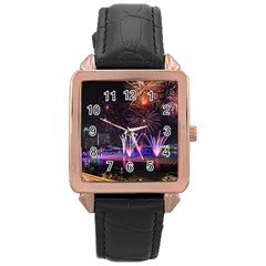 Singapore The Happy New Year Hotel Celebration Laser Light Fireworks Marina Bay Rose Gold Leather Watch  by Onesevenart