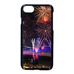 Singapore The Happy New Year Hotel Celebration Laser Light Fireworks Marina Bay Apple iPhone 7 Seamless Case (Black)