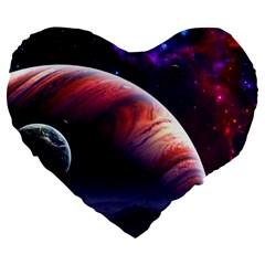 Space Art Nebula Large 19  Premium Flano Heart Shape Cushions by Onesevenart