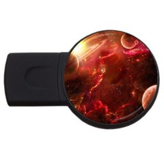 Space Red Usb Flash Drive Round (4 Gb) by Onesevenart