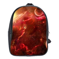 Space Red School Bags (xl)  by Onesevenart