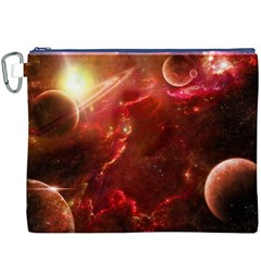 Space Red Canvas Cosmetic Bag (xxxl) by Onesevenart