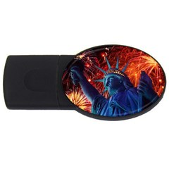 Statue Of Liberty Fireworks At Night United States Of America USB Flash Drive Oval (2 GB) by Onesevenart