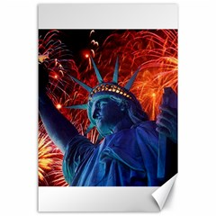Statue Of Liberty Fireworks At Night United States Of America Canvas 24  X 36  by Onesevenart